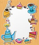 Cute coffee frame 3 Royalty Free Stock Images
