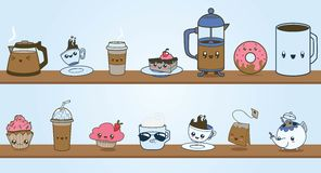 Cute Coffee Shop Vector Clipart Character Set. A set of original characters based on what you might find in a coffee shop or cafe. They are illustrated in a royalty free illustration