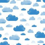 Cute minimal cartoon style seamless pattern with blue clouds with watercolor texture. Isolated on white background royalty free illustration