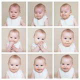 Cute collage of a little toddler baby boy, making different face Royalty Free Stock Image