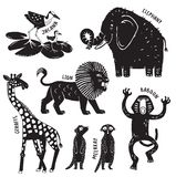 Wild African Animals in black and white stock illustration