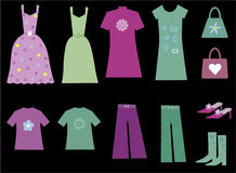 Cute collection of clothes for women Royalty Free Stock Image
