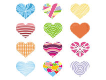 A cute collection of colorful heart for Valentine Royalty Free Stock Photography