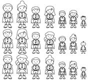 Cute Collection of Diverse Stick Figure Superheroes or Superhero Families Stock Images
