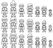 Cute Collection of Diverse Stick Figure Superheroes or Superhero Families Stock Photos