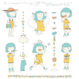 Cute collection with doodle little girl with blue hair in yellow dress in summer activities - jumping the skipping rope, eating ap Royalty Free Stock Photography