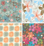 Cute collection of floral patterns  Set of beautiful unusual backgrounds with flowers Royalty Free Stock Photo