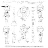 Cute collection with hand drawn doodle little girl with dotted dress in summer activities - jumping the skipping rope, eating appl Stock Photos