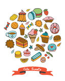 Cute collection of hand drawn sweets and desserts Stock Photo