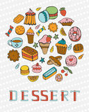 Cute collection of hand drawn sweets and desserts Royalty Free Stock Photos