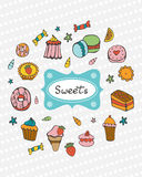 Cute collection of hand drawn sweets and desserts Stock Image