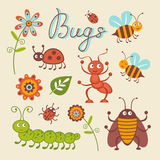 Cute collection of happy little bugs Royalty Free Stock Photography