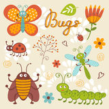 Cute collection of happy little bugs Royalty Free Stock Photos