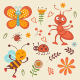 Cute collection of happy little bugs Royalty Free Stock Images