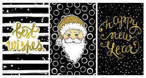 Cute collection with Happy New Year 2017 cards. Set with Best wishes-calligraphy print,cartoon Santa Claus. Beautiful festive decoration for christmas holidays Royalty Free Stock Image