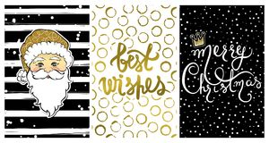 Cute collection with Happy New Year 2017 cards. Set with Best wishes-calligraphy print,cartoon Santa Claus. Beautiful festive decoration for christmas holidays Royalty Free Stock Photography