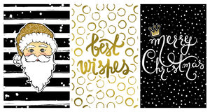 Cute collection with Happy New Year 2017 cards. Set with Best wishes-calligraphy print,cartoon Santa Claus. Beautiful festive decoration for christmas holidays Stock Photography