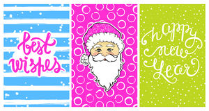 Cute collection with Happy New Year 2017 cards. Set with Best wishes-calligraphy print,cartoon Santa Claus. Beautiful festive decoration for christmas holidays Stock Images