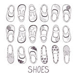 Cute collection of little girls shoes Royalty Free Stock Image
