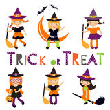Cute collection of little Halloween witches Stock Image
