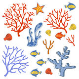 Cute collection of sea weeds, corals and fishes Stock Image