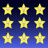 Cute collection of stars with happy smileys Stock Photo