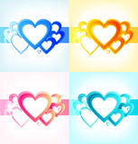 Cute collection with sunny hearts. Set of romantic Valentines banners. Decorative love frames Royalty Free Stock Images