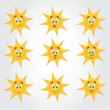 Cute collection of suns with happy smileys Stock Photography