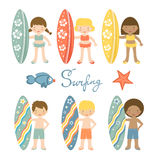 Cute collection of surfing kids Stock Images