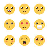 Cute collection of yellow flat design smiles isolated on white background Royalty Free Stock Image