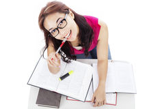 Cute college student studying Stock Photo