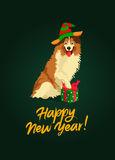 Cute Collie. Happy New Year Stock Image