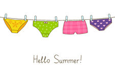 Cute color panties on clothesline Royalty Free Stock Images