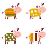 Cute color pattern Cows collection. Royalty Free Stock Photo