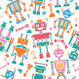 Cute color retro robots vector background seamless pattern Royalty Free Stock Photo
