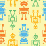 Cute color retro robots vector background seamless pattern Stock Photography