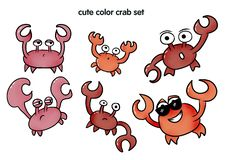 Cute color set with crab. Crabbing for print, illustration for kids design. Colored book, stikers. Funny characters - lobsters stock illustration
