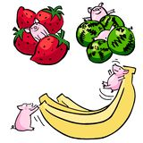 Cute color vector funny set pigs with fruit royalty free illustration
