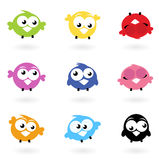 Cute color vector Twitter Birds icons collection. Royalty Free Stock Photos