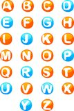 Cute colored 3d alphabet. Bright colored font design - 3d  alphabet with white letters on blue and orange background Royalty Free Stock Image
