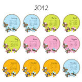 Cute colored calendar with flowers. Cute colored 2012 calendar with flowers Stock Image