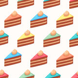 Cute colored slices of cake Royalty Free Stock Images
