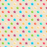 Cute colored stars. Seamless pattern with cute colored stars on a beige background Royalty Free Stock Photography