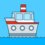 Cute colored vector cartoon ship cruising on water Royalty Free Stock Photography