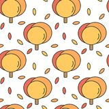 Cute colorful abstract autumn fall seamless vector pattern background illustration with trees and leaves. Cute colorful abstract autumn fall seamless pattern royalty free illustration