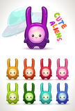 Cute colorful aliens with long ears. Stock Photography