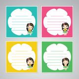 Cute colorful aloha girl frame  cartoon illustration for kid memo paper design Royalty Free Stock Photos