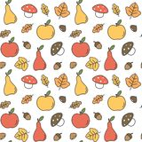 Cute colorful autumn fall seamless vector pattern background illustration with pears, apples, leaves, acorns, chestnuts and mushro. Cute colorful autumn fall Stock Illustration