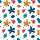Cute colorful autumn fall seamless vector pattern background illustration with leaves. Cute colorful autumn fall seamless pattern background illustration with Royalty Free Illustration