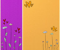 Cute colorful background. With flowers and hearts vector illustration